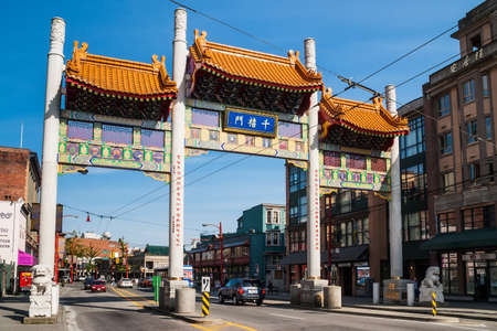 Millennium Gate on Pender Street in Chinatown in Vancouver, Canada. Chinatown in Vancouver, British Columbia is Canada Editorial