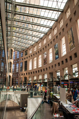 The interior of the Vancouver Public Library. The library is the third largest public library system in Canada, with more than 2.5 million items in its collections and almost nine million items borrowed annually.