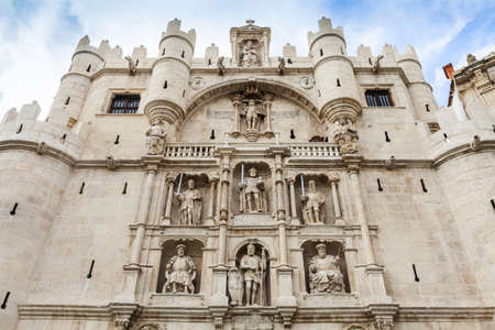 remodelled: Santa Maria Arch in Burgos, Spain. Ithe 16th century it was remodelled by Juan de Vallejo and Francisco de Colonia, and became most noble entrance to city.  Stock Photo