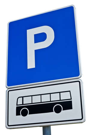 motorcoach: Blue parking sign for the bus isolated on white background
