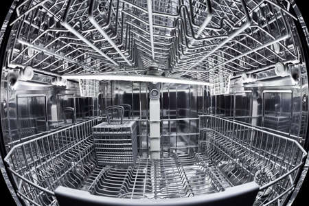 Fisheye view of the interior of an empty dishwasher