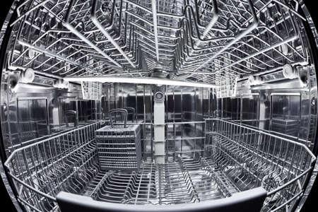 lavaplatos: Opinión de Fisheye del interior de un lavavajillas vacío