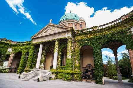 Entrance to Mirogoj cemetery with Church of King Christ in Zagreb, Croatia   photo