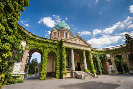 Entrance to Mirogoj cemetery with Church of King Christ in Zagreb, Croatia