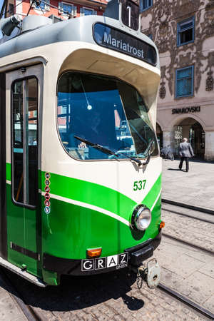 hauptplatz: Tram on Main Square (Hauptplatz) in Graz, Austria. The tram public tranportation system in Graz is in operation since 1878 and the tram network presently has eight lines.