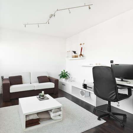 컴퓨터 책상과 어두운 갈색 나무 바닥에 흰색 카펫 화면, 소파와 테이블 현대 거실