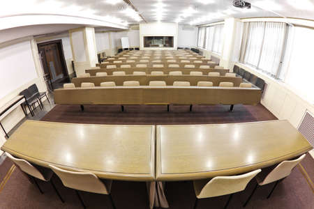 Empty lecture  hall, fish eye view photo