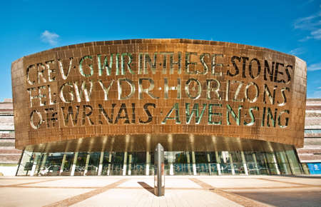 cardiff: Cardiff Millenium Centre on a beautiful sunny day in Cardiff, Wales. The centre is one of the world Editorial