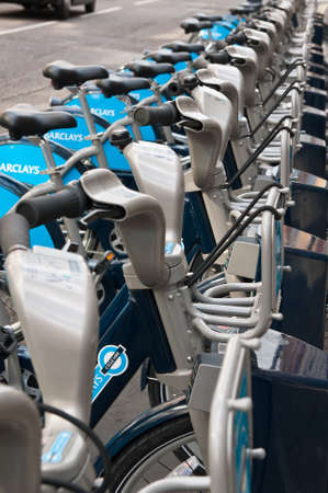 Barclays Cycle Hire docking station in London. Over half a million bicycle trips were made within the first six weeks of the launch of the public bicycle sharing scheme.