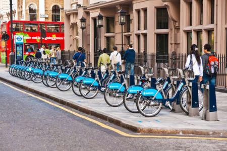 Barclays Cycle Hire docking station. Over half a million bicycle trips were made within the first six weeks of the launch of the public bicycle sharing scheme.