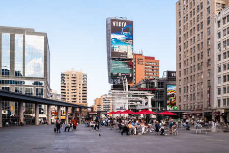 conceived: TORONTO, CANADA - MAY 10: Yonge-Dundas Square on May 10, 2007 in Toronto, Canada.  The square was conceived in 1998 to revitalize the intersection and was designed by Brown and Storey Architects. Editorial