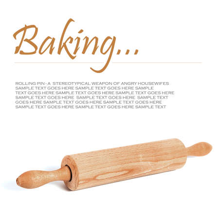 Wooden rolling pin on white background, with text standing in for copy space  Stock Photo - 20423083