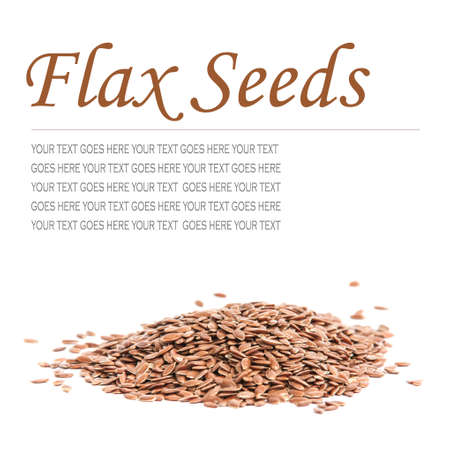 Pile of flax seeds isolated on white background, with text standing in for copy space  photo