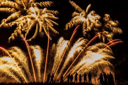 Grandes fuegos artificiales con las siluetas de las personas que ven que
