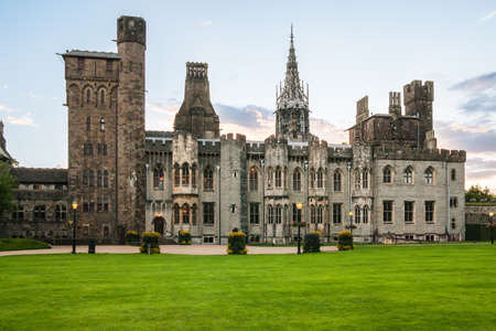 Cardiff Castle Main Range and inside gardens in Cardiff, UK  It was built founded by Richard de Beauchamp on site of Cardiff Castle in 15th century