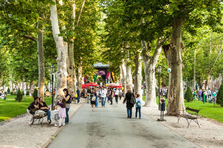 Visitors during 15th Cest is d Best festival around pavillion in Zrinjevac park in Zagreb, Croatia  Zrinjevac is spread over 12540 sq meters in city center  Editorial