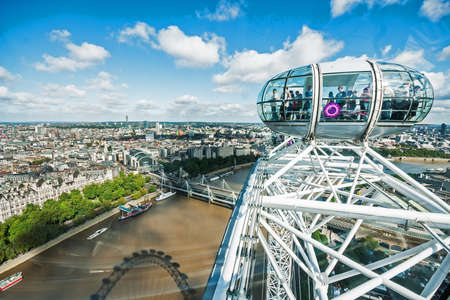 eye traveller: View at capsule and Charing Cross from London Eye in London  With diameter of 120 meters and height of 135 meters, it is the highest ferris wheel in Europe
