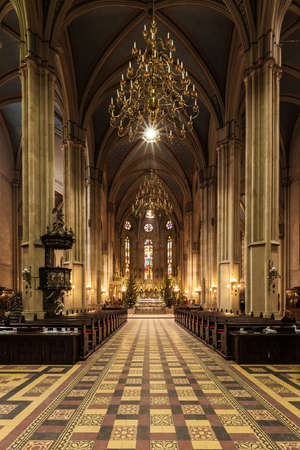 saint stephen cathedral: Interior of Zagreb Cathedral dedicated to Assumption of Mary and to kings Saint Stephen and Saint Ladislaus in Zagreb, Croatia  It