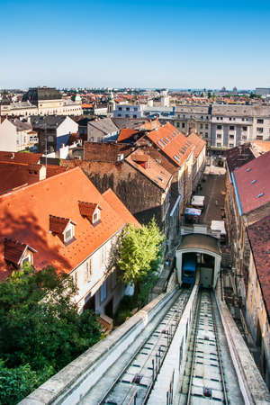 Zagreb funicular, one of many tourist attractions in Zagreb, Croatia  It is one of the shortest funiculars in the world; the length of the track is 66 meters