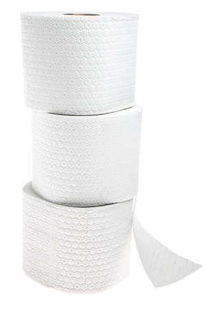 Three rolls of white perforated toilet paper isolated on white background Reklamní fotografie - 23120227