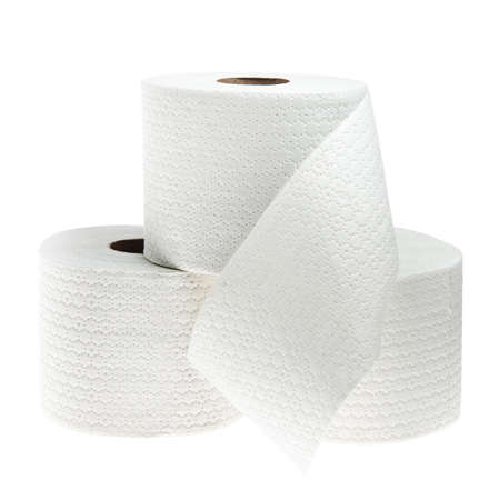 toilet paper: Three rolls of white perforated toilet paper isolated on white background Stock Photo