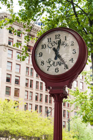 previously: Century Square Street Clock on May 19, 2007 in Seattle, Washington  The clock was built by E  Howard and was previously owned by Zedick Jewelers  The clock was painted red in 2004