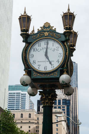 19's: Carroll s Jewelers Clock on May 19, 2007 in Seattle, Washington  It was built in 1913 by Joseph Mayer and was located downtown at Carroll s Fine Jewelers at 4th Ave and Pike Street  Editorial