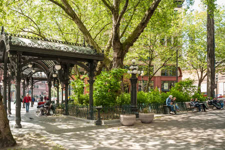 Iron Pergola on Pioneer Square on May 19, 2007 in Seattle, Washington  Pioneer Square was city center where founders settled in 1852; most of buildings on it burnt in 1889 great fire
