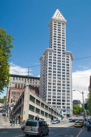 Smith Tower building on May 19, 2007 in Seattle, Washington  The 38-story 149 m tall building was completed in 1914 and named after its builder, magnate Lyman Cornelius Smith  Stock Photo - 24302583