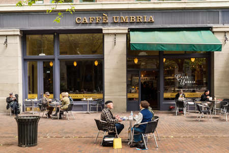 Caffe Umbria on Occidental Avenue in Seattle, Washington  Caffe Umbria is a coffee roaster and coffeehouse chain based in Seattle, established in 1948 by Ornello Bizzarri  Editorial