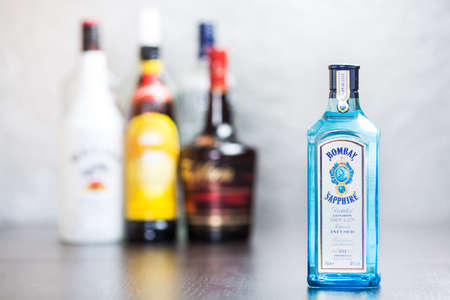 bacardi: Bottle of Bombay Sapphire gin, a mix of 10 ingredients