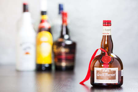 bitter orange: Bottle of Grand Marnier, an orange-flavored cognac liqueur  It was created in 1880 by Alexandre Marnier-Lapostolle and made from Cognac brandy, bitter orange and sugar  Editorial