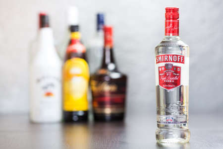 Bottle of Smirnoff Red Vodka  The Smirnoff brand was established around 1860 in Moscow by Pyotr Arsenievich Smirnoff and is now owned and produced by Diageo from UK; vodka means  water  in Russian   Editorial