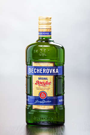 gingery: Bottle of Becherovka, a herbal bitter with gingery or cinnamony flavor, usually drunk as a digestive aid  It is produced by the Jan Becher company in Karlovy Vary, Czech Republic and brand is owned by Pernod Ricard