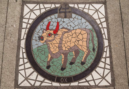 The Ox, one of twelve symbols of the Chinese Zodiac Mosaic in Chinatown, located between China Gate and Dr  Sun Yat-Sen Park in Vancouver Chinatown