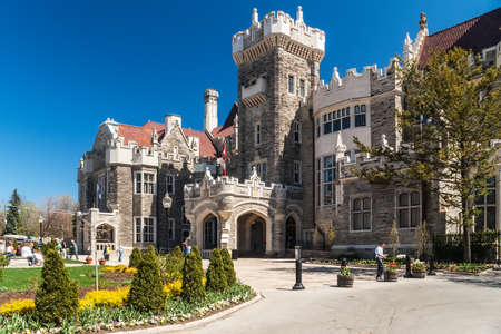 TORONTO, CANADA - MAY 3, 2007: Casa Loma, one of Torontos top ten tourist attractions. Casa Loma and its Estate Gardens are visited by around 300 thousands visitors each year.