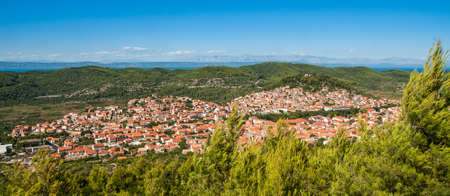 Panorama of town Blato on island of Korcula, Croatia photo