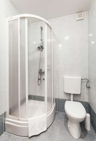 toilet seat: Modern bathroom with shower and toilet seat