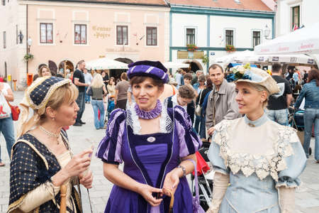entertainers: VARAZDIN, CROATIA - AUGUST 29, 2006: Costumed entertainers on the streets of Varazdin during Spancirfest festival. It is street festival held every year since 1999 and lasts for 10 days, hosting over 100,000 tourists.