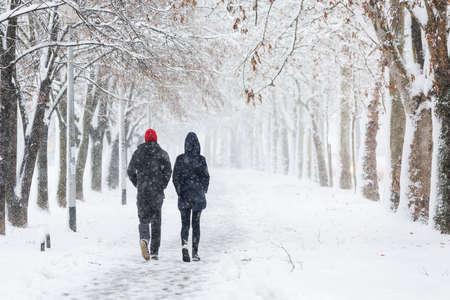 Echtpaar lopen tijdens zware sneeuwstorm op de steeg onder de bomen