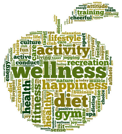 word clouds: Conceptual illustration of tag cloud containing words related to diet, wellness, fitness and healthy lifestyle in the shape of an apple.