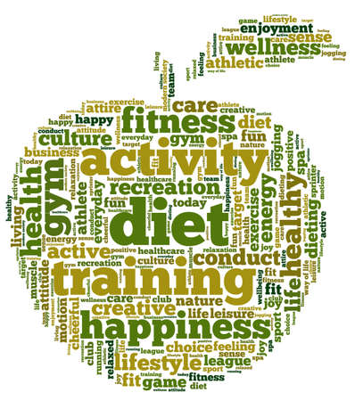 Conceptual illustration of tag cloud containing words related to diet, wellness, fitness and healthy lifestyle in the shape of an apple. Vector
