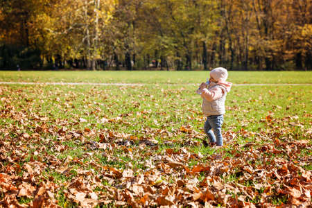 One and a half year old baby girl standing in the meadow covered with fallen leaves, drinking water from the bottle