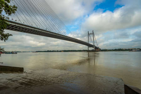 hooghly: Second Hooghly river bridge - the longest cable stayed bridge in India. Photograph taken from Princep Ghat Kolkata. Stock Photo