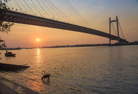 hooghly: Scenic sunset over the Vidyasagar bridge on river Hooghly. Photograph taken from Princep Ghat, Kolkata. The Hooghly river bridge is the longest cable stayed bridge in India.