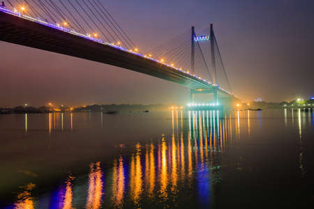 Vidyasagar setu (bridge) on river Hooghly at twilight time. The longest cable bridge in India.