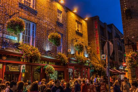 Dublin, Ireland - August 8, 2015: Temple Bar at night