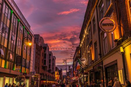 Dublin, Ireland - August 8, 2015: Temple Bar at an wonderful evening