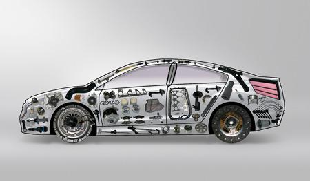 aftermarket: acceleration car detail drive engine force garage gear Stock Photo