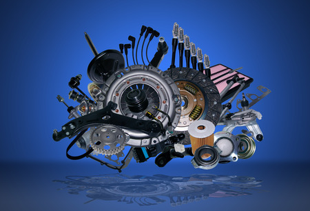 Many new spare parts for a car Imagens